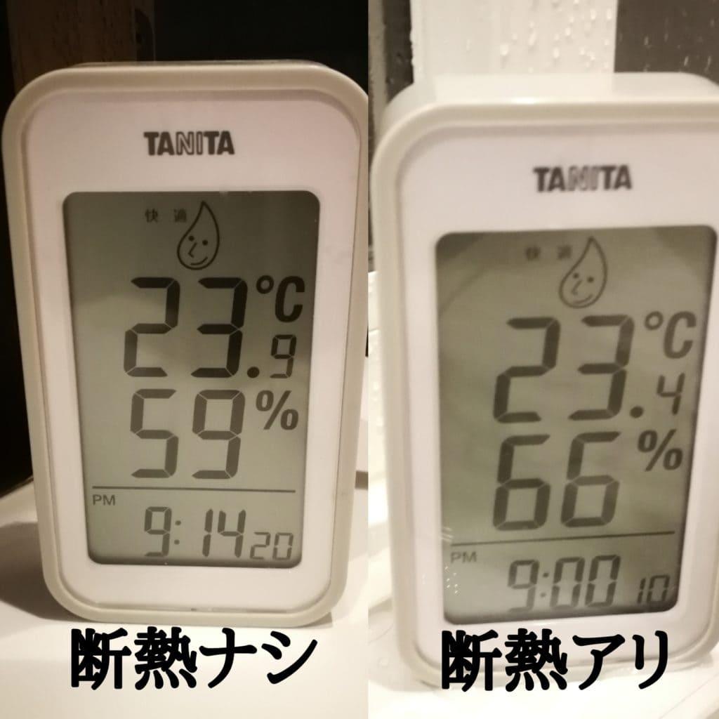 内窓有り無しの温度変化