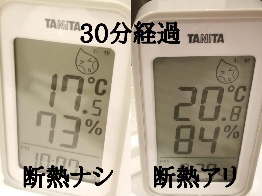 内窓有り無しの温度変化 30分後