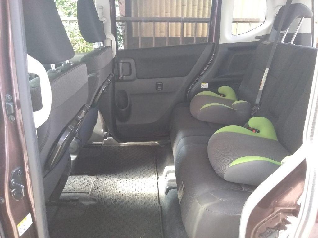荷台を最小にしたときの後部座席の状況 ソリオ